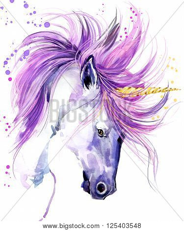Unicorn. Unicorn watercolor illustration. Magical Unicorn. Unicorn T-Shirt print.