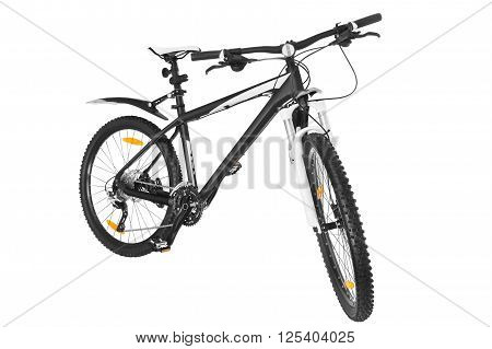 black-and-white bicycle on a white background isolated