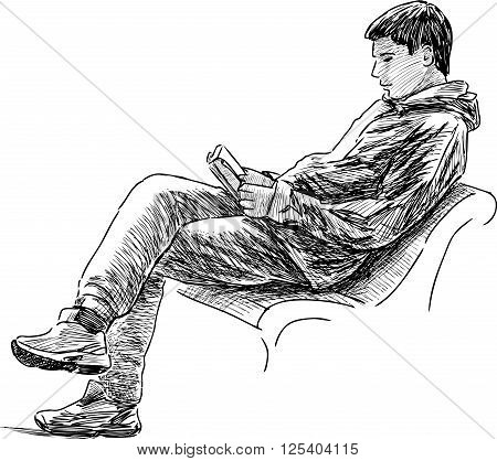 Vector drawing of a boy reads on a park bench.