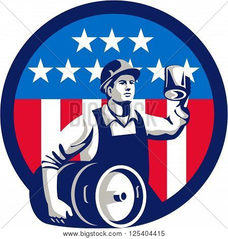 Illustration of an American builder construction worker wearing hardhat holding a beer mug toasting while carrying beer keg set inside circle with USA stars and stripes on isolated white background done in retro style.