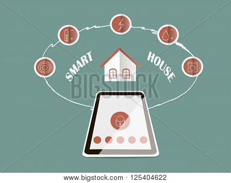 Concept of smart house technology with centralized control. Remote control, red icons on blue, flat design. Vector, design elements