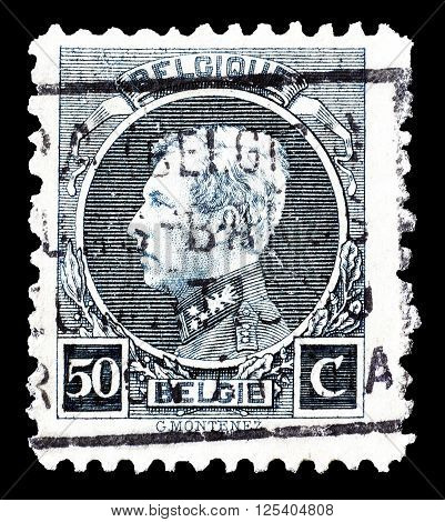BELGIUM - CIRCA 1921 : Cancelled postage stamp printed by Belgium, that shows king Albert.