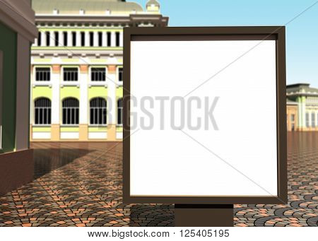 3D illustration of an advertising banner in the city