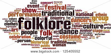 Folklore word cloud concept. Vector illustration on white