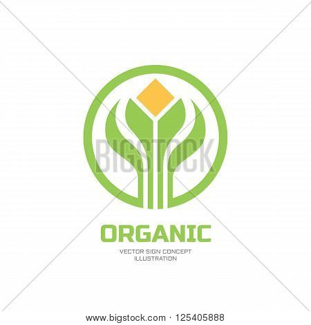 Sprouts and leaves - vector logo concept illustration. Organic logo. Ecology logo. Leafs in circle logo. Bio logo. Nature logo. Agriculture logo. Vector logo template. Design element.