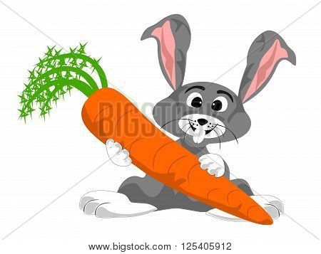 cute grey white rabbit holding large carrot, png format, vector