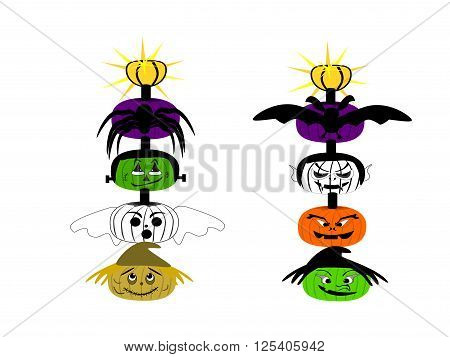 Halloween faces totem pole solar light, vector, png format