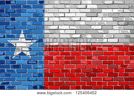 Flag of Texas on a brick wall - Illustration, 