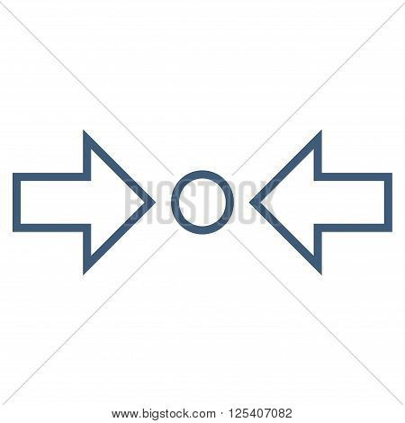 Compress Horizontal vector icon. Style is stroke icon symbol, blue color, white background.
