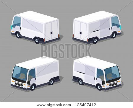 White cargo van. 3D lowpoly isometric vector illustration. The set of objects isolated against the grey background and shown from different sides