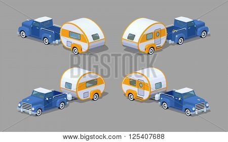 Blue retro pickup with orange-white motor home. 3D lowpoly isometric vector illustration. The set of objects isolated against the grey background and shown from different sides