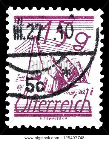 AUSTRIA - CIRCA 1925 : Cancelled postage stamp printed by Austria, that shows Fields and telegraph lines.