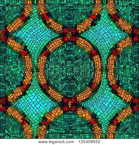 Geometrical background with bright mosaic drawing. Seamless patterns. Vector illustration.