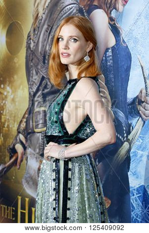 Jessica Chastain at the Los Angeles premiere of 'The Huntsman: Winter's War' held at the Regency Village Theatre in Westwood, USA on April 11, 2016.