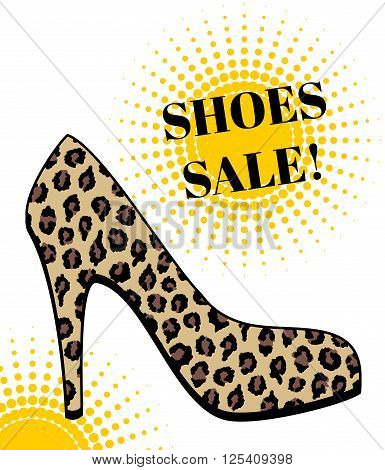 Poster for the sale of footwear. High-heeled shoes with leopard print