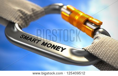 White Ropes Connected by Chrome Carabiner Hook with Text Smart Money. Selective Focus. 3D Render.