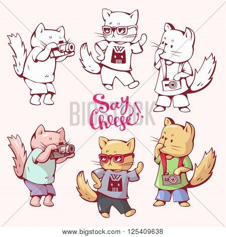 Illustration of funny cartoon cats photographers. Hand-drawn illustration. Vector set.