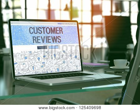 Customer Reviews Concept - Closeup on Landing Page of Laptop Screen in Modern Office Workplace. Toned Image with Selective Focus. 3D Render.
