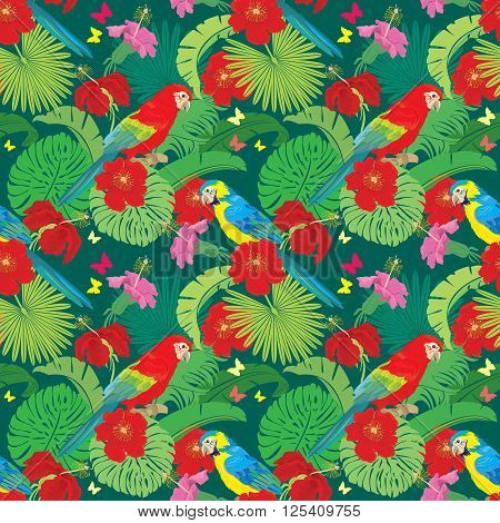 Seamless pattern with palm trees leaves Frangipani flowers and Blue Yellow and Red Blue Macaw parrots. Element for summer travel and vacation design.