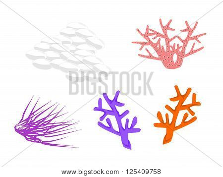 coral colorful, five, vector, png format, pink, purple, blue, orange