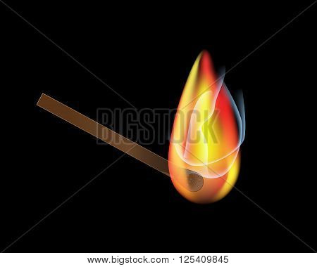 Vector burning match sticks on black background. Vector illustration