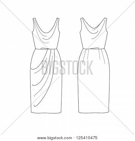 Set of Fashion Flat template Sketch - Short woman dress