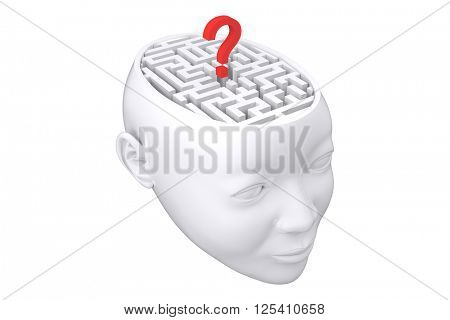 Maze as brain with question mark against white background with vignette