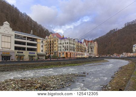 ROSA KHUTOR, RUSSIA - MARCH 27, 2016: Msrch view on ski resort of world class Rosa Khutor built in 2013 for the 2014 Olympic Games