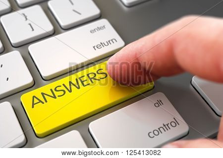 Hand using Modernized Keyboard with Answers Yellow Keypad, Finger, Laptop. Business Concept - Male Finger Pointing Answers Key on Laptop Keyboard. 3D Render.
