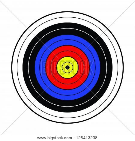 simple bullseye made by yellow. red, blue, black and white