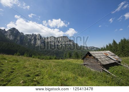 Old sheepfold cottage on the mountain (Romanian Carpathians)