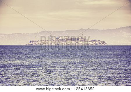 Retro old film stylized picture of Alcatraz island San Francisco USA.