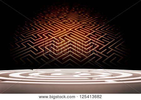 Circle maze against difficult maze puzzle