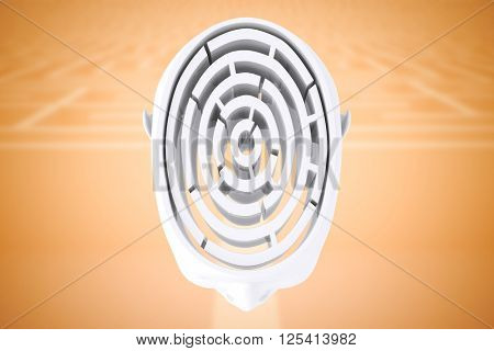 Maze brain in head against entrance to difficult maze puzzle