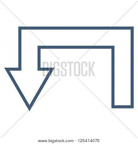 Return Arrow vector icon. Style is outline icon symbol, blue color, white background.