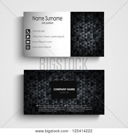 Business card with dark abstract triangles template vector eps 10