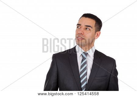 Latin American business man looking up isolated on white background
