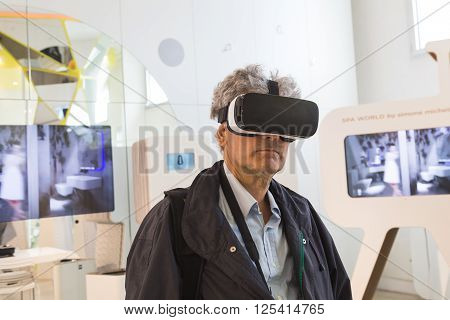Man Wearing Virtual Reality Headset Atfuorisalone In Milan, Italy