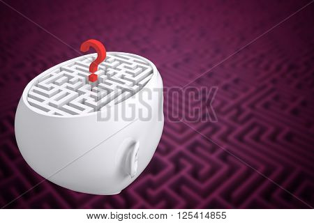 Maze as brain with question mark against difficult maze puzzle