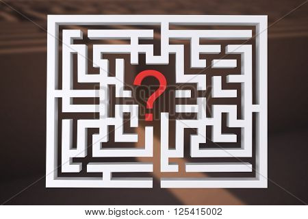 Maze question mark against entrance to difficult maze puzzle