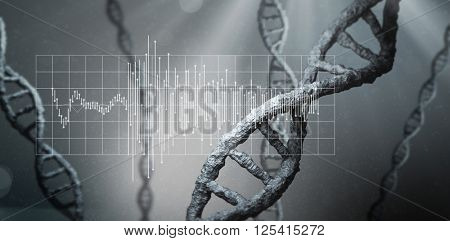 Waveform on grid against view of dna