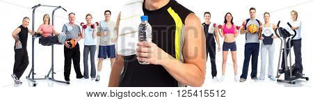 Young fitness man with bottle of water.