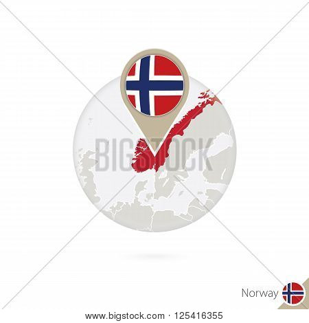 Norway map and flag in circle. Map of Norway Norway flag pin. Map of Norway in the style of the globe. Vector Illustration.