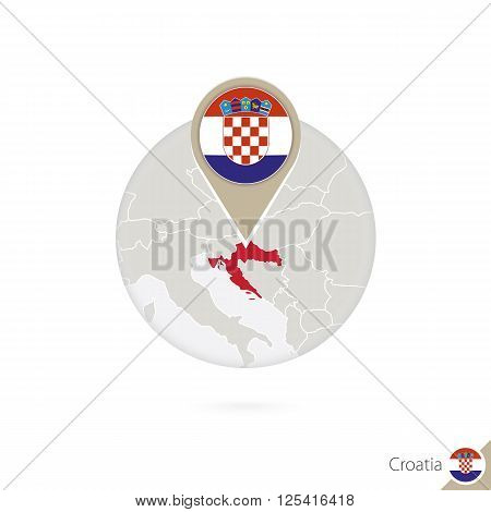 Croatia map and flag in circle. Map of Croatia Croatia flag pin. Map of Croatia in the style of the globe. Vector Illustration.