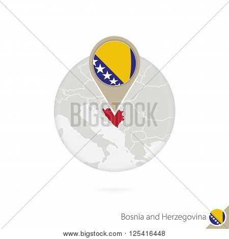Bosnia And Herzegovina Map And Flag In Circle. Map Of Bosnia And Herzegovina, Bosnia And Herzegovina