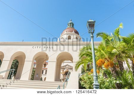 Exterior Pasadena City Hall in Mediterranean Revival and Spanish Colonial Revival Styles west entrance steps and portico