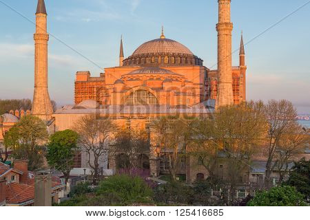 ISTANBUL, TURKEY - APRIL 27, 2015: view on Hagia Sophia, former Christian temple built in the 5th century
