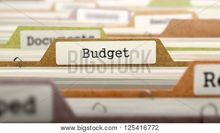 Budget on Business Folder in Multicolor Card Index. Closeup View. Blurred Image. 3D Render.