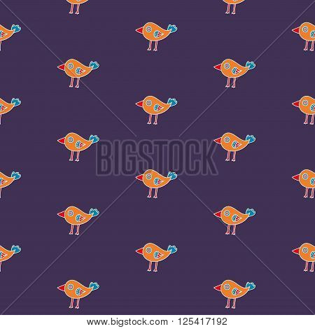 Small hand drawn bird seamless pattern on a violet background. The cartoon bird with a big beak. Vector illustration