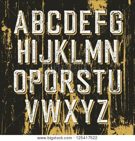Vintage retro typeface on wooden texture with shadow. Stamped alphabet